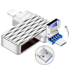 Clé USB Suntrsi 2.0 3 en 1 clé USB haute vitesse 64 go  pour iPhone intelligent 7/8/x/xr/iPad/Android