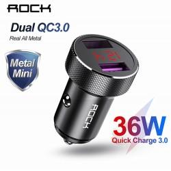 ROCK - Chargeur Voiture  Métal Double QC 3.0 LED Affichage -  9.99€
