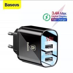 BASEUS - 3.4A  Adaptateur Affichage LED Triple USB
