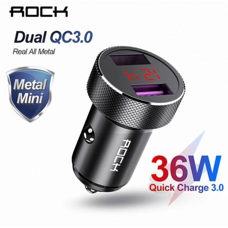 ROCK - Chargeur Voiture  Métal Double QC 3.0 LED Affichage